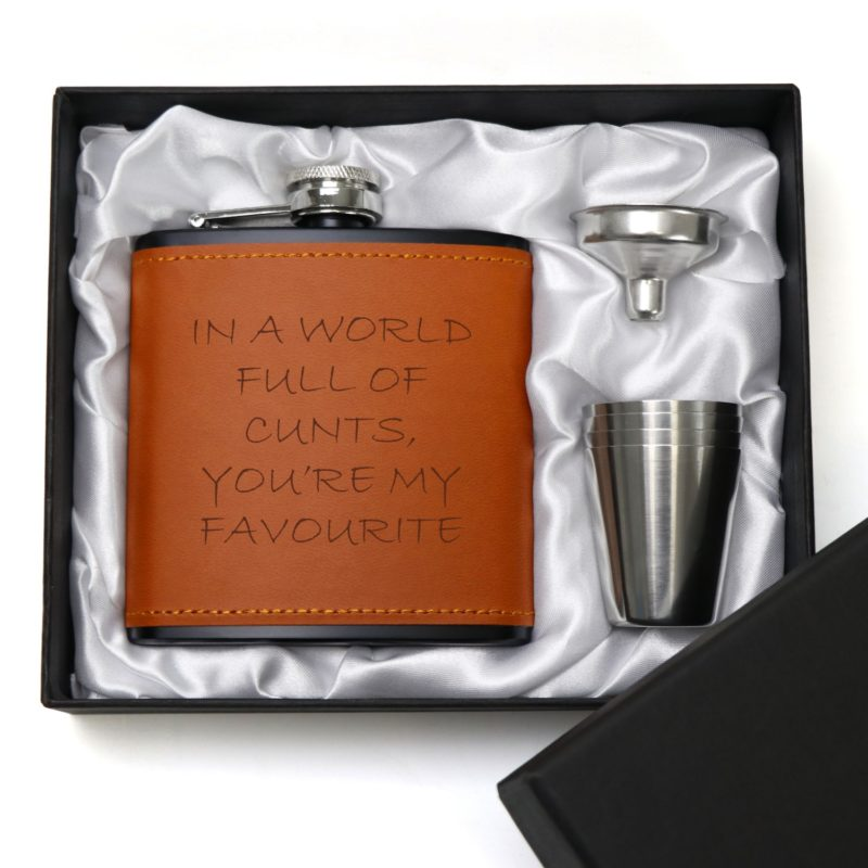 Favourite Cunt 6oz Brown Leatherette Hip Flask with Gift Box