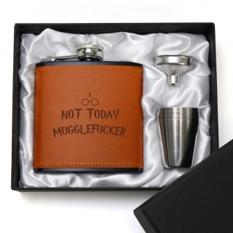 Not Today Mugglefucker Sweary 6oz Brown Leatherette Hip Flask with Gift Box