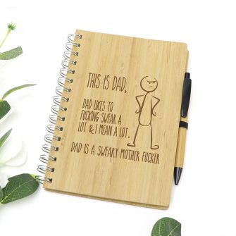 Sweary Dad Profanity Gift Laser Engraved Bamboo Notebook