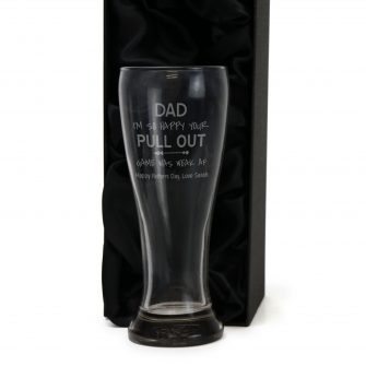 Personalised Pull Out Funny Fathers Day Gift Engraved 420ml Schooner Glass with Gift Box