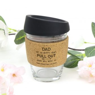 Personalised Pull Out Funny Fathers Day Gift Cork Band Glass Coffee Cup
